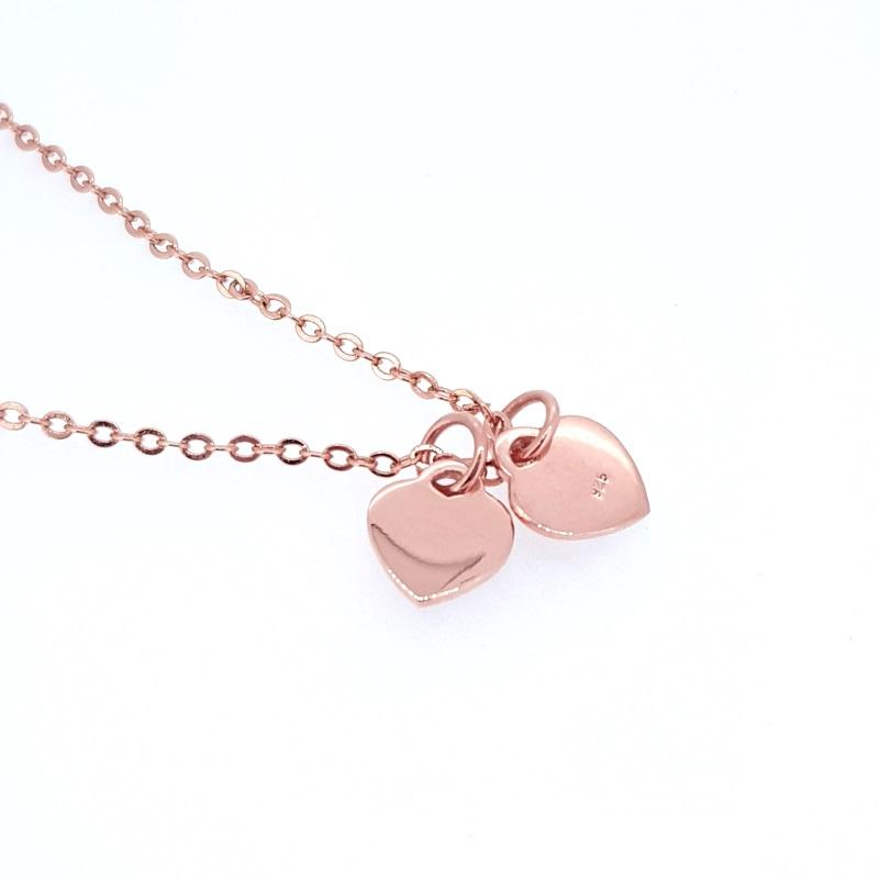 Doppelte Herzkette - 925 Silber/Rosegold